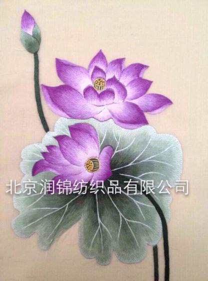 北京丽绣坊手绣苏绣荷花图片