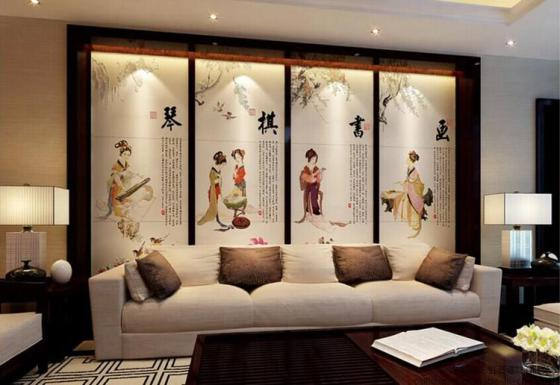 彩虹石品牌瓷砖背景墙 中式客厅沙发背景墙挂画 壁画瓷砖琴棋书画图片