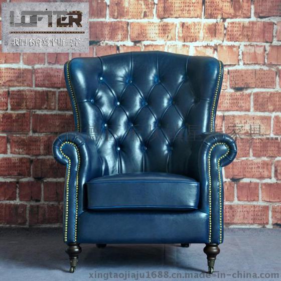 美式拉扣真皮沙发椅酒店咖啡厅单人高背欧式皮艺复