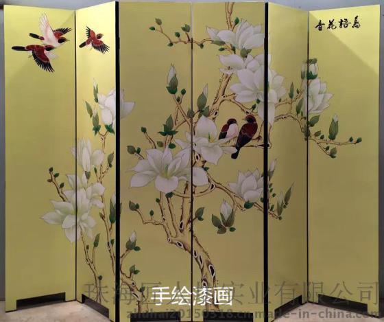 匠人坊特价高档花鸟手绘漆画屏风酒店隔断古典客厅墙