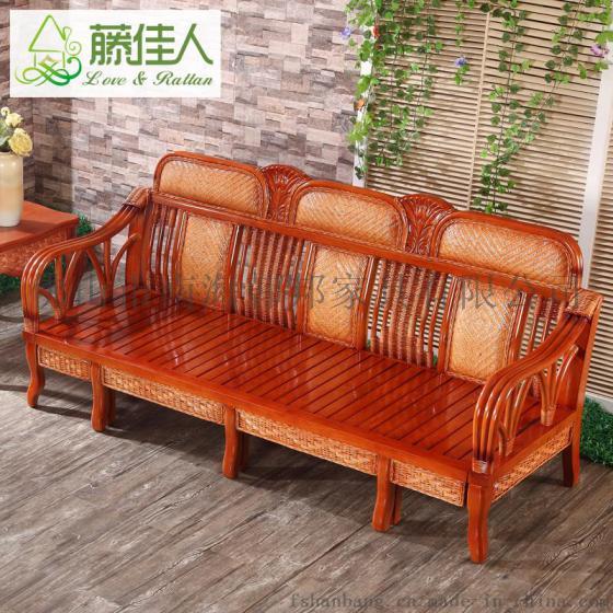 藤沙发床 多功能实木沙发床藤推拉床两用组合