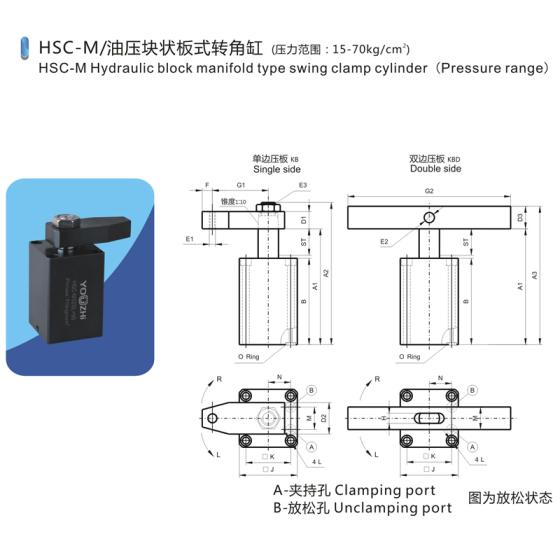 油压转角缸方块油路板式液压夹紧器工件图片