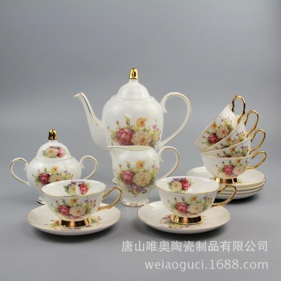 欧式金边咖啡杯 骨瓷咖啡杯套装 陶瓷水杯套装 定制logo礼盒装图片