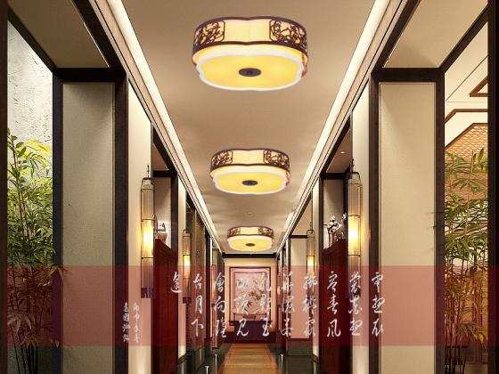 新中式吸顶灯圆形led简约现代吸主卧室顶灯阳台过道书房酒店工程灯具图片