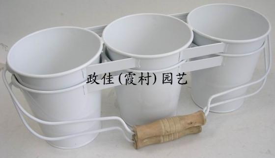 多肉植物装饰桶,双层吊挂式铁皮花桶,家居装饰白铁皮装水花插