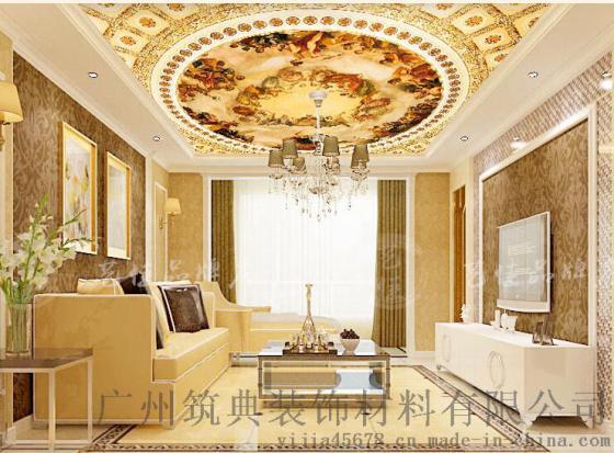 法式吊顶壁纸 3d立体天花板墙纸 欧式教堂众神大型壁画