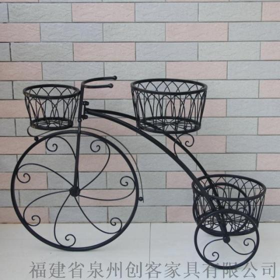 上海创客欧式铁艺花架自行车花架多盆花架装饰花车式