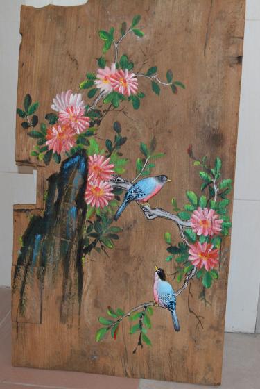 美式复古做旧手绘木板画创意风化木板装饰画墙饰壁画原木挂画定做 可图片