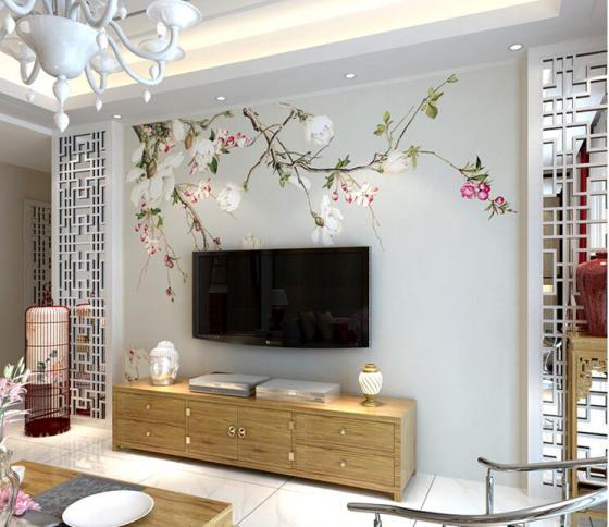 厂家定制电视背景墙大型壁画中式古典手绘玉兰花