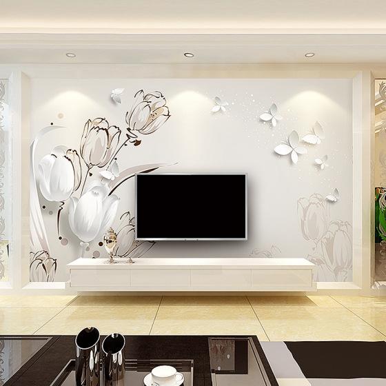 定制背景墙 现代简约电视背景墙壁画 郁金香墙纸壁画