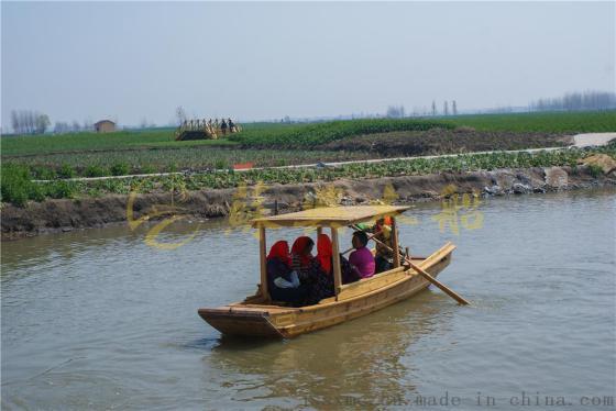 双桨手划木船 5米旅游观光单蓬船 水乡景区观光木船 款式可定制图片图片