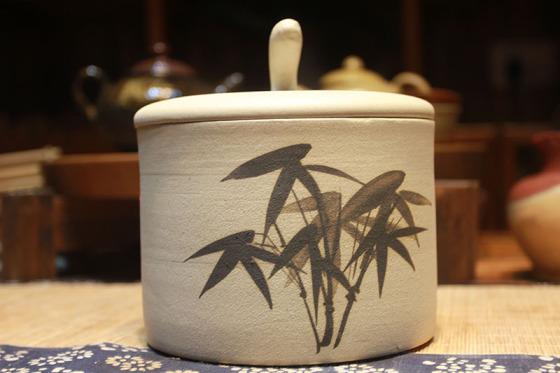 长沙铜官窑传统工艺大师纯手工定制竹子陶瓷茶叶罐正品图片