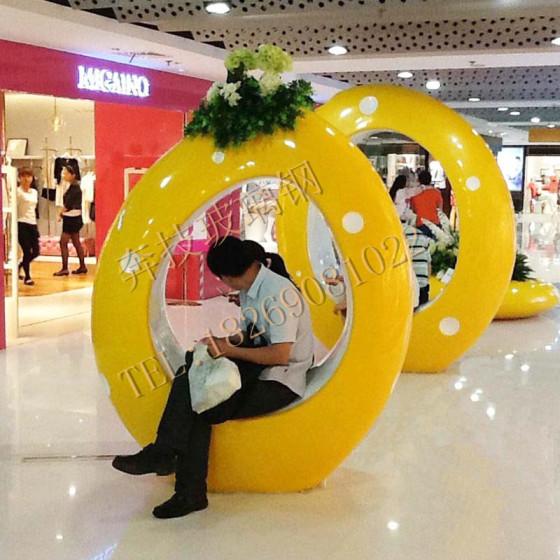 玻璃钢创意圆形休闲椅 商场大堂美陈异形休息坐凳 广场户外座椅图片