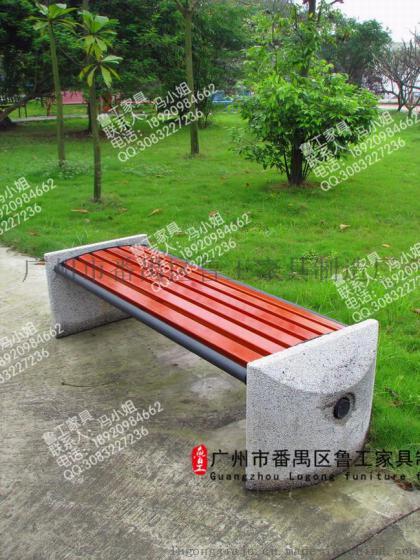 公园靠背长椅室外园林椅铸铁实木椅休闲公园长凳碳化防腐木休息椅