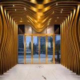 家樂福仿木紋造型鋁方通 室內天花弧形鋁方通定制