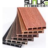 带花纹木塑板立体花纹塑木地板木纹圆孔户外塑木地板
