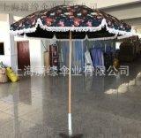 定制流蘇太陽傘帶垂邊高品質沙灘傘庭院休閒裝飾傘