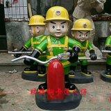 樹脂卡通消防員雕塑玻璃鋼救火英雄動漫人仔戶外兒童樂園裝飾雕塑