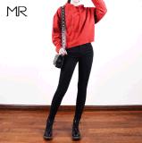 爆款2017秋歐美女裝緊身牛仔褲 女式黑色高腰牛仔褲女小腳鉛筆褲