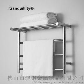 帶置物架圓管不鏽鋼電熱毛巾架,酒店專用置物浴巾架
