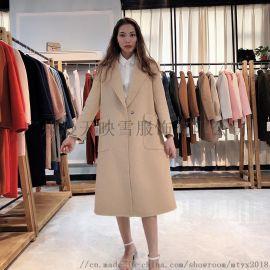 【嘉彩】19年冬季气质休闲双面呢大衣 品牌折扣女装