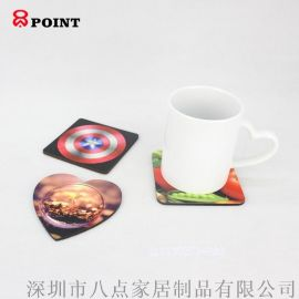 定制杯垫印刷热转印MDF带软木杯垫