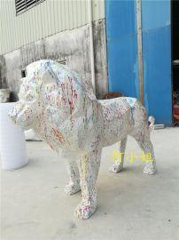 大型猫科类动物玻璃钢狮子雕塑几何切面抽象动物制作