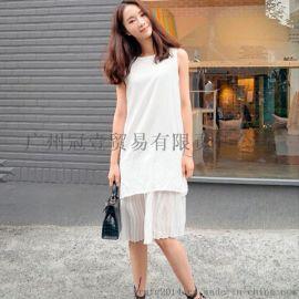 韓版新款時尚拼接百褶下擺 純色假兩件休閒連衣裙