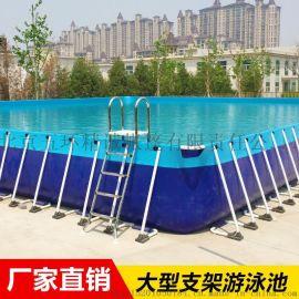 大型成人支架水池遊泳池充氣滑梯水上樂園設備廠家