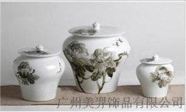 陶瓷 中式   水墨  白 牡丹  工艺礼品 设计公司  花瓶  陶瓷罐