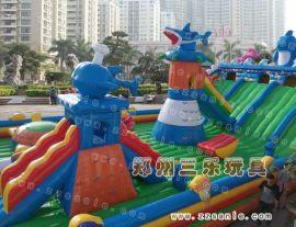 广西玉林大型充气滑梯新款式大鲨鱼充气蹦床,厂家直销,
