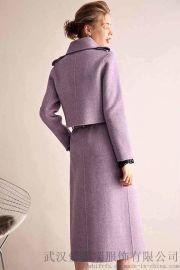 服装进货多少柏芙澜双排扣双面羊绒呢大衣女