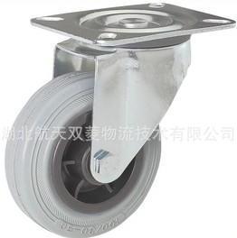 125mm平板万向轮塑芯灰胶轮