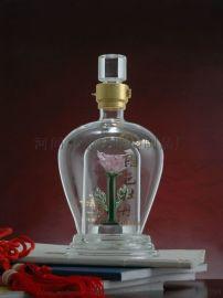 定制玻璃工艺酒瓶 内套花型酒瓶