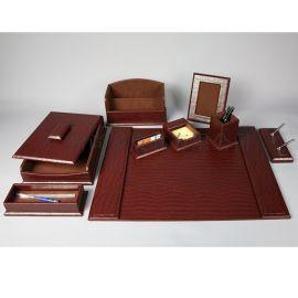 皮革辦公用品套裝 高檔皮質辦公桌墊餐墊杯墊筆筒文具