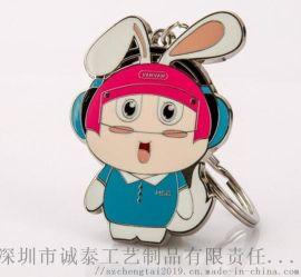 动漫卡通珐琅钥匙扣, Q版兔子金属礼品锁匙扣