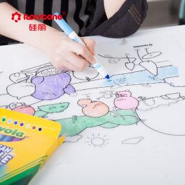 多彩硅膠塗鴉墊兒童便攜式繪畫書寫墊安全隔熱餐墊可水洗