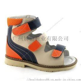 高帮儿童凉鞋,真皮矫形凉鞋,广州外贸童鞋