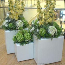 户外景观创意简约玻璃钢花盆花箱酒店商场公园美陈摆设
