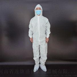白色腹膜无纺布四连体隔离衣防水隔菌隔离服