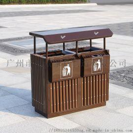 垃圾桶 时景户外实木防腐防晒耐用垃圾桶
