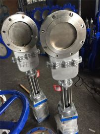 DN200气动暗杆刀闸阀带盖不锈钢气动浆液阀