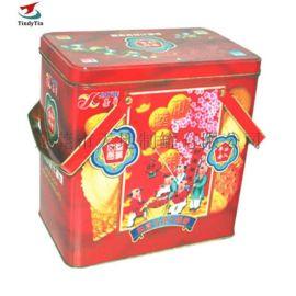 厂家供应马口铁手提铁盒 节日手挽饼干盒 特产包装盒
