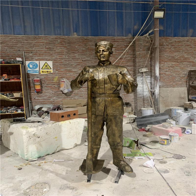 园林景观人物雕塑 玻璃钢仿铜人像造型