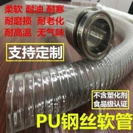 耐高温酿酒输送食品级钢丝PU软管食品生产PU钢丝管