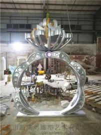珠宝店带动人气摆件大型玻璃钢镶嵌水晶戒指造型雕塑