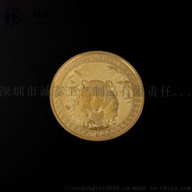 锌合金熊猫纪念币,动物纪念币,金属纪念币