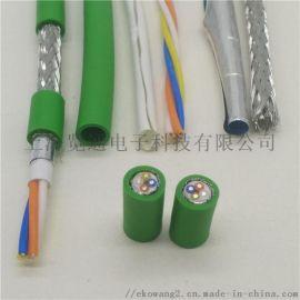 四芯绿色工业profinet工业以太网专用电缆