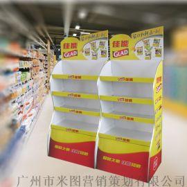 水杯纸架保鲜膜货架定制纸板货架商超展柜端架纸展示架
