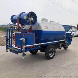三轮雾炮洒水三轮车 多功能绿化洒水车